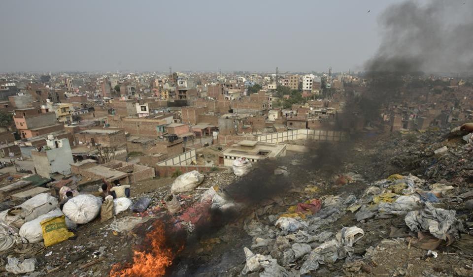 Slums near Bhalswa dump yard in New Delhi.