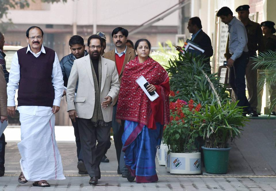 New Delhi: Union Ministers and BJP leaders M Venkaiah Naidu, Mukhtar Abbas Naqvi and Nirmala Sitharaman after meeting Election Commission of India on the UP issue, in New Delhi on Monday
