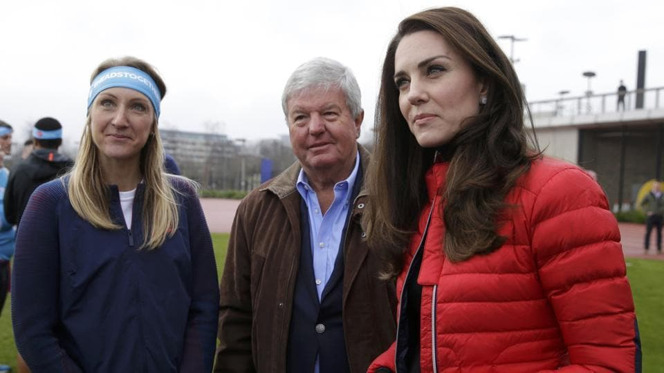 Kate, the Duchess of Cambridge, and athlete Paula Radcliffe (left) during the promotion of  a charity Heads Together at the Queen Elizabeth II Park in London.  (REUTERS)