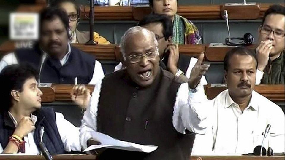 Senior Congress leader Mallikarjun Kharge speaks in the Lok Sabha in New Delhi on Monday.
