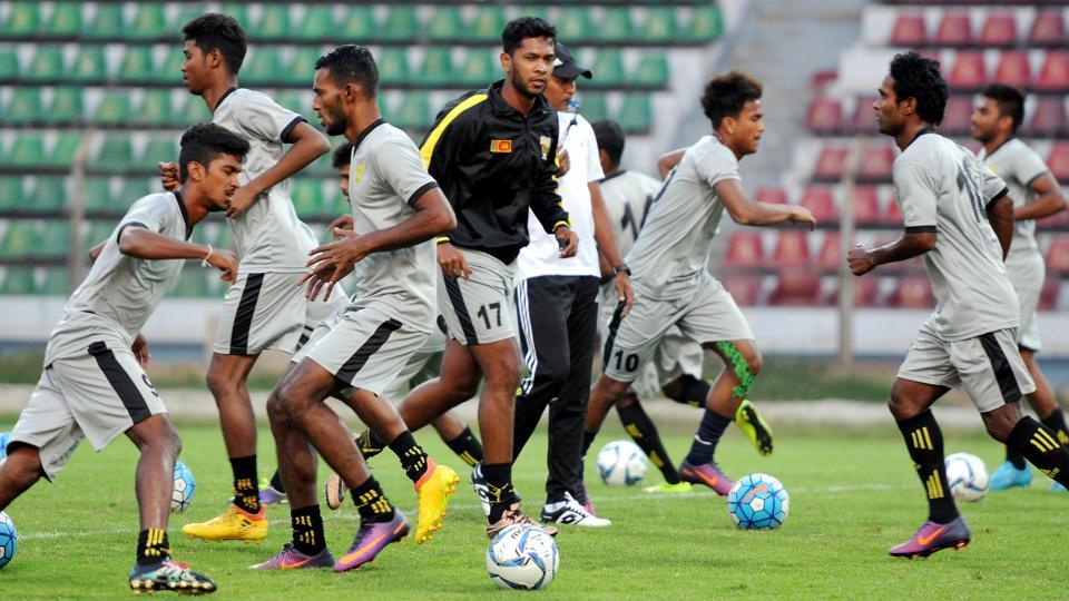 Colombo FC train a day before their AFC Cup match against Mohun Bagan at Rabindra Sarobar Stadium in Kolkata , on Monday.