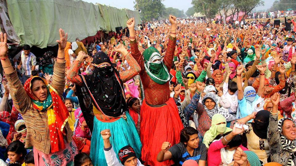 Women protesters at a dharna in Rohtak 's Jassia village on Sunday.