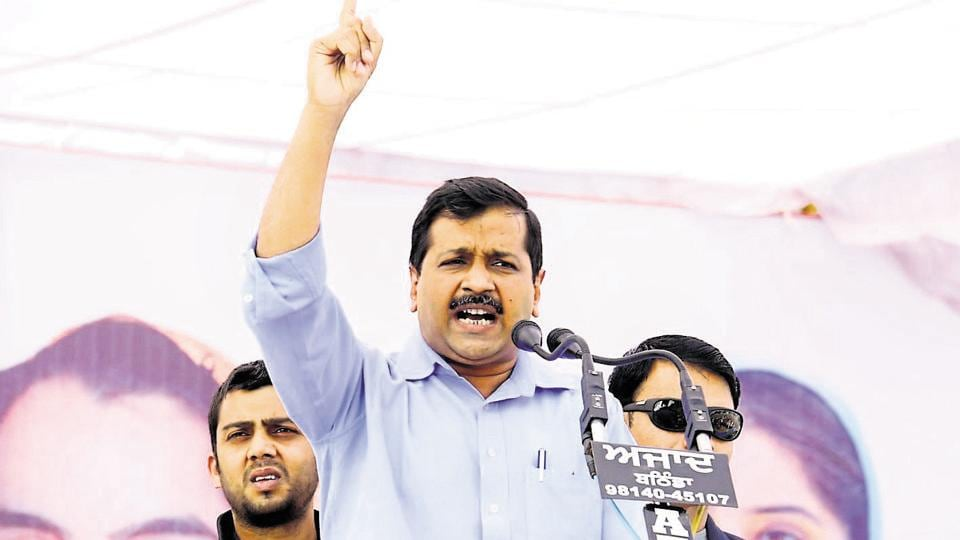 Aam Aadmi Party chief and Delhi chief minister Arvind Kejriwal addresses gathering during a rally in Kotshamir village in Bathinda, Punjab.