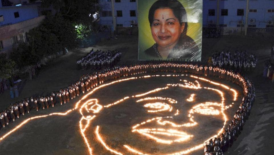 A candle light ceremony held by the school children in memory of late Tamil Nadu CMJayalalithaa, in Chennai.