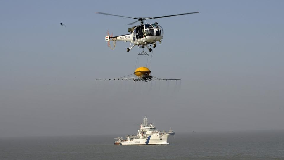 Indian Coast Guard personnel take part in a response exercise in the Gulf of Kutch region in Gujarat.