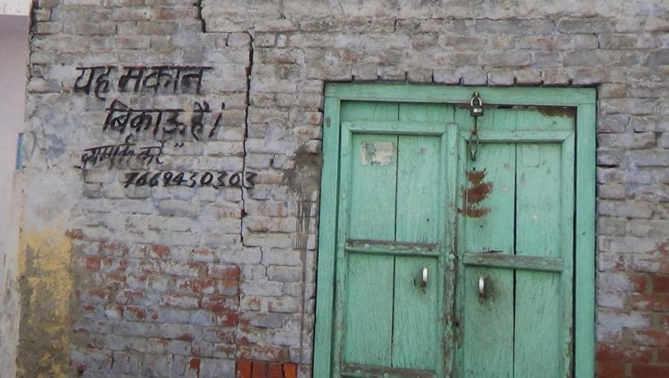 A property that is up for sale after its owner allegedly migrated from Kairana. The town in Shamli district hit the headlines last year after a local BJP leader alleged that hundreds of Hindu families were forced to leave following threats and intimidation.