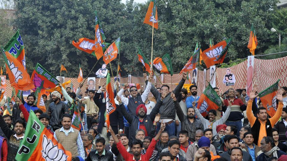 BJP supporters during a rally in Ludhiana.
