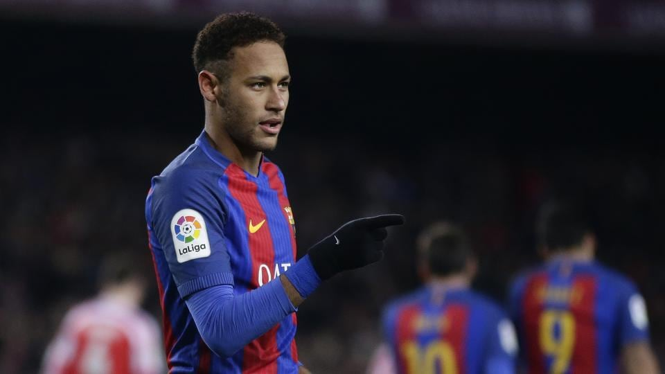 FC Barcelona's Neymar celebrates after scoring a penalty during a Copa del Rey, 16 round, second leg, between FC Barcelona and Athletic Bilbao at the Camp Nou in Barcelona, Spain, Wednesday, Jan. 11, 2017. (AP Photo/Manu Fernandez)