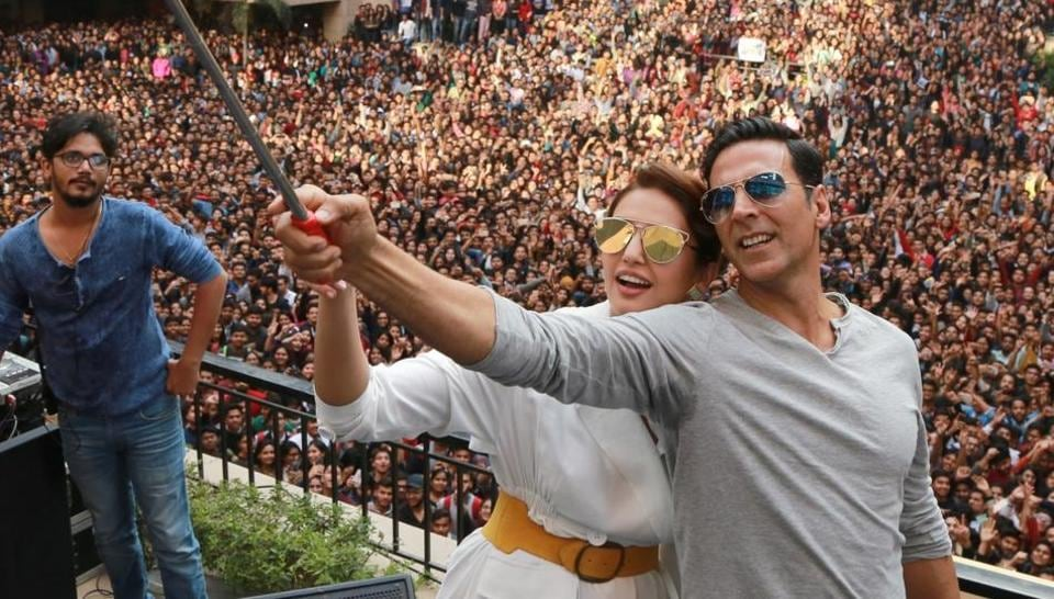 Bollywood actors Akshay Kumar and Huma Qureshi promote their upcoming film Jolly LLB 2 in Noida on Monday.