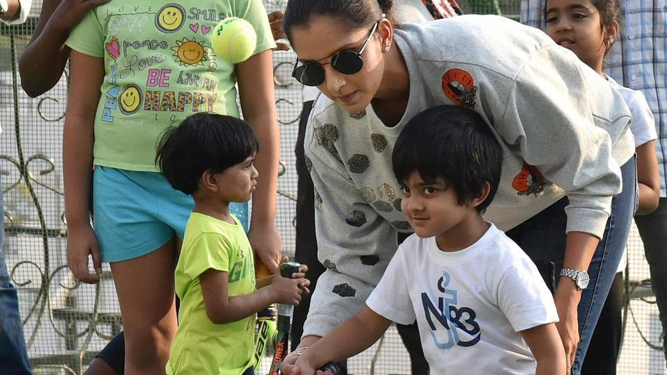 Sania Mirza at the inauguration of the SMTAGrassroot Level Academy at Film Nagar in Hyderabad on Monday.