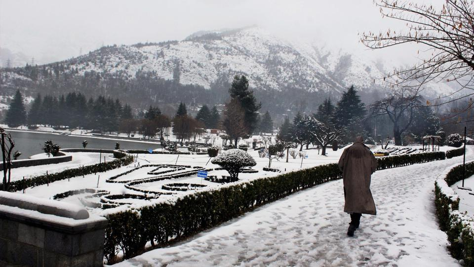 A snow-covered park in Srinagar on Sunday after the Valley received fresh snowfall.