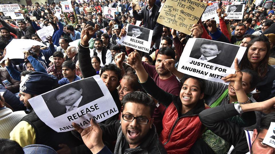 Investors staged a demonstration at Jantar Mantar, demanding Mittal's release.