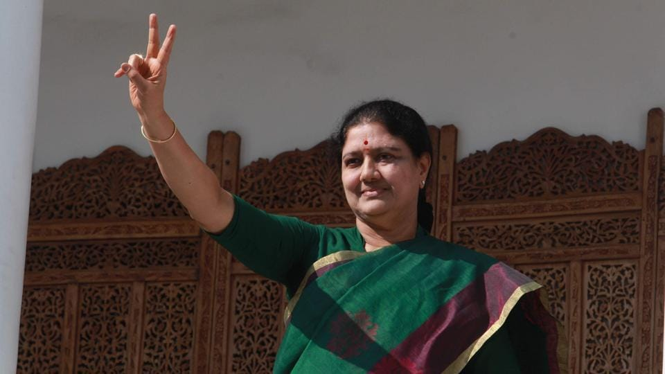 AIADMK general secretary Sasikala at the party head quarters on Sunday in Chennai.