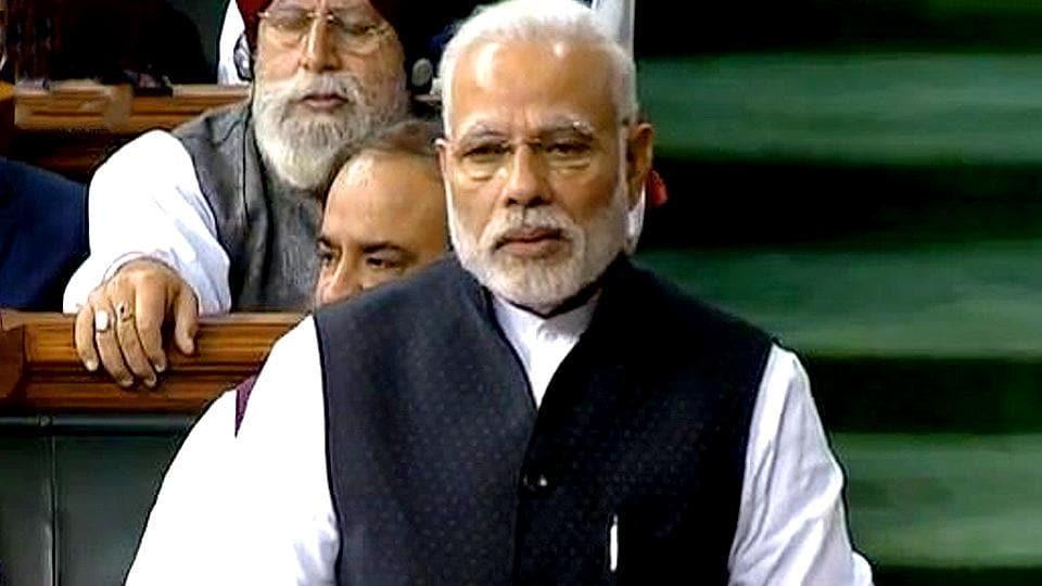 PMModi speaks in the Lok Sabha.