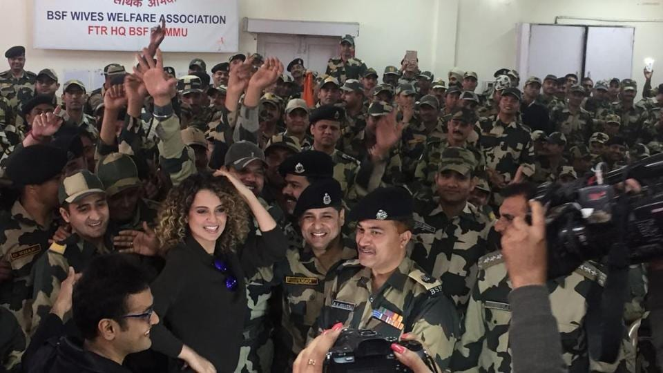 Kangana enjoys some fun time at the BSF Wives' Welfare Association in Jammu.