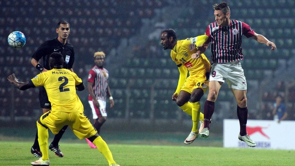 Action during Mohun Bagan's AFC Cup qualifier against Colombo FC at Rabindra Sarobar Stadium in Kolkata  on Tuesday.