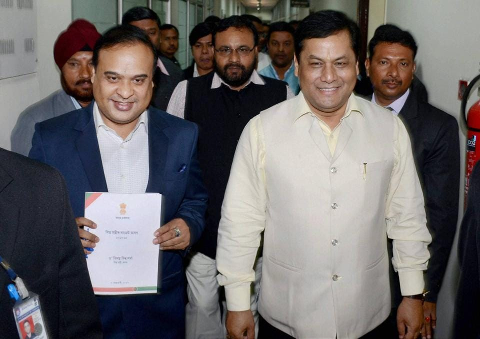 Assam finance minister Himanta Biswa Sarma (left), accompanied by with chief minister Sarbananda Sonowal, on his way to present the state budget 2017-18 in the legislative assembly in Guwahati on Tuesday.