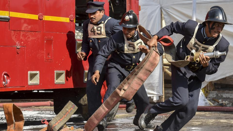 45 to 55 seconds was the limit for the fire-trailer pump drill and 55 to 65 seconds was the limit for the Angus Ladder Drill. (Kunal Patil/Ht photo)
