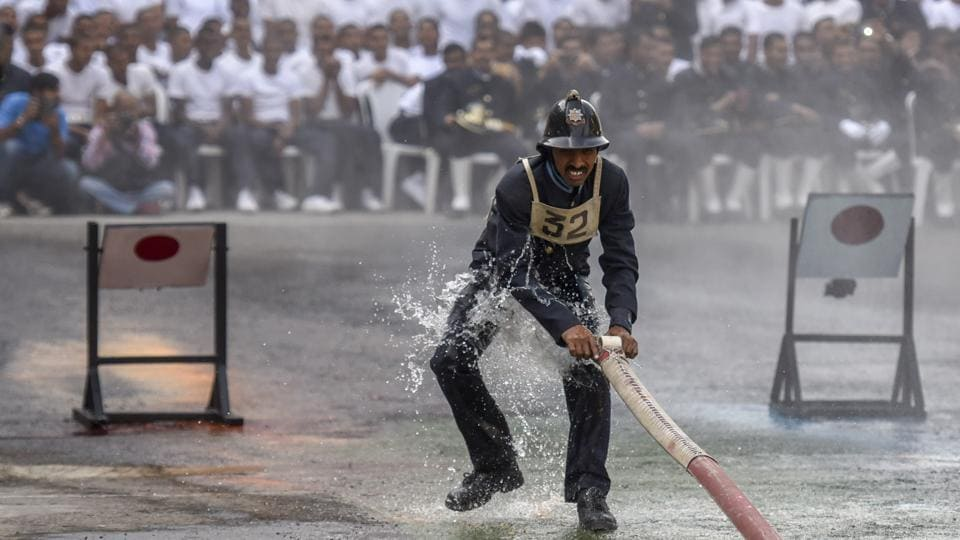 A fireman during a routine at the fire brigade's headquarters. (Kunal Patil/Ht photo)