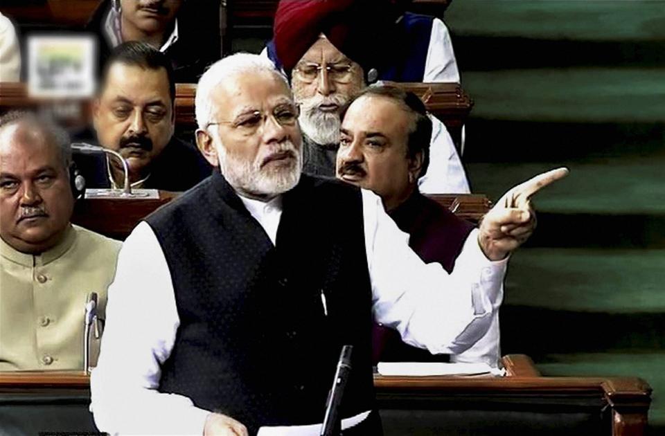 Prime Minister Narendra Modi speaks in Lok Sabha on Tuesday.