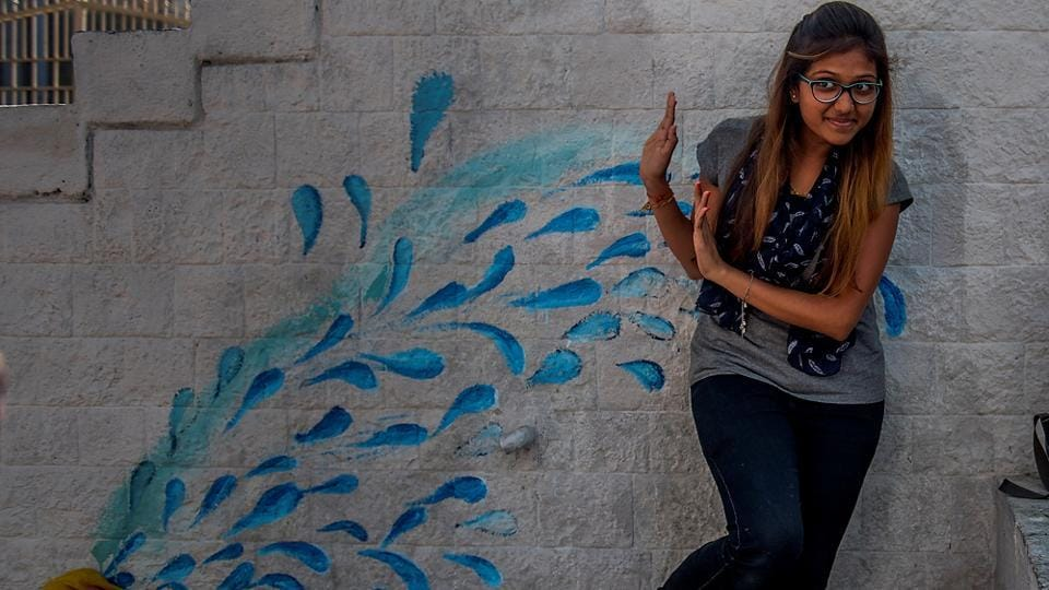 This wall art  at Rampart Row springs a surprise. (Satish Bate/HT PHOTO)