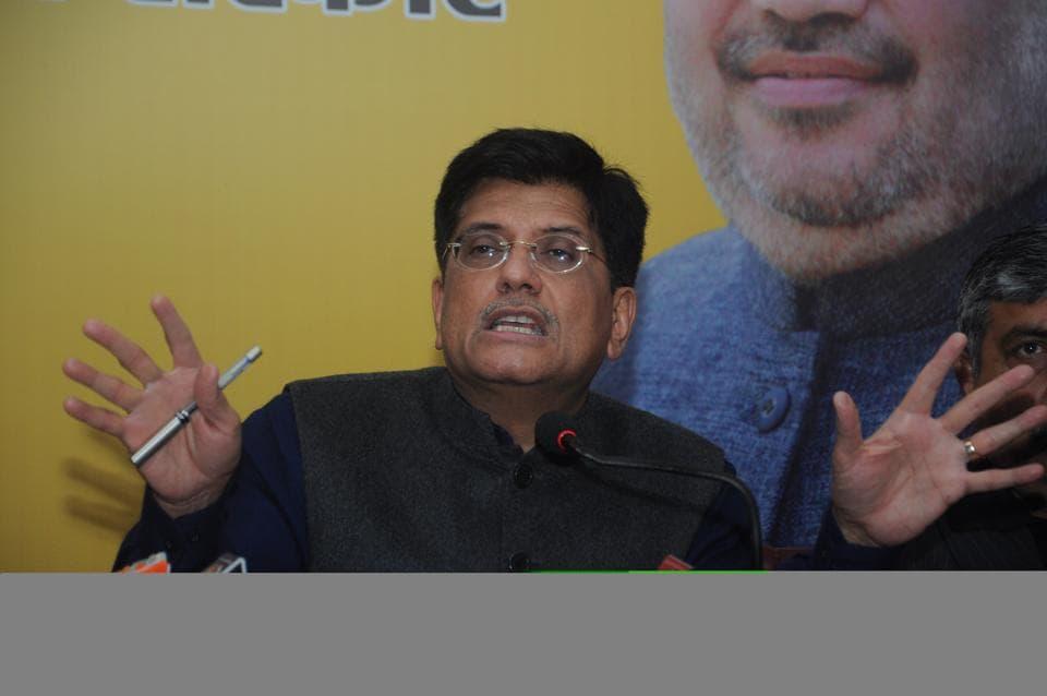 Union power minister Piyush Goyal addresses media in Dehradun on Tuesday.