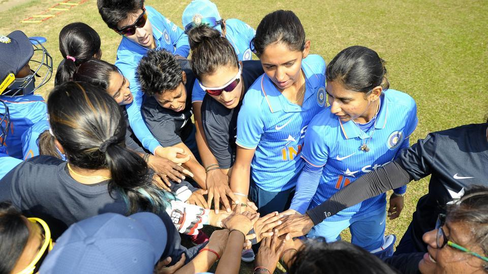 India women's cricket team huddle prior to their first match in the ICC Women's World Cup Qualifiers 2017 vs Sri Lanka women's cricket team in  Colombo on Tuesday.