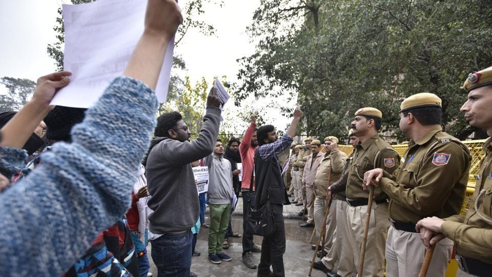 JNU Students protesting at the UGC office in New Delhi against what they claim are draconian eligibility criteria and entry rules and seat cut in PhD/MPhil admissions.