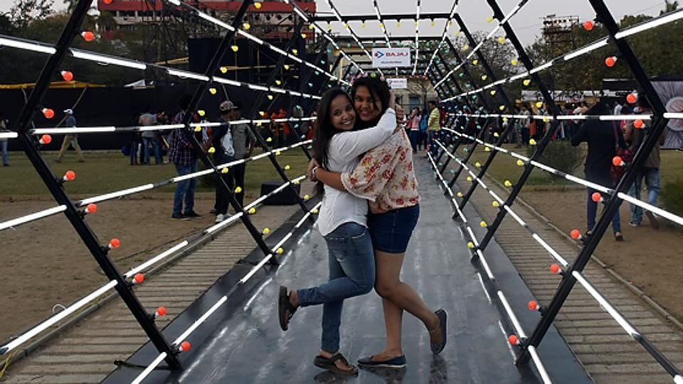 Youngsters take a 'Walk into the future' at Cross Maidan. (Anshuman Poyrekar/HT PHOTO)