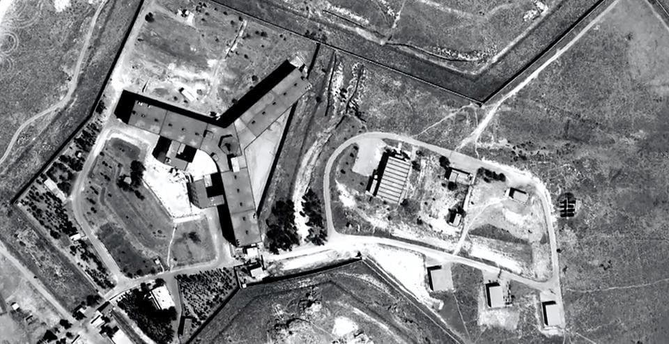 A handout satellite image released by Amnesty International shows the military-run Saydnaya prison.