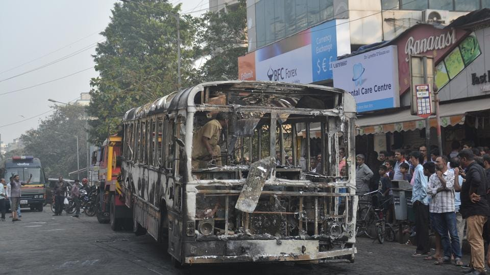 The BEST bus that caught fire in Andheri.