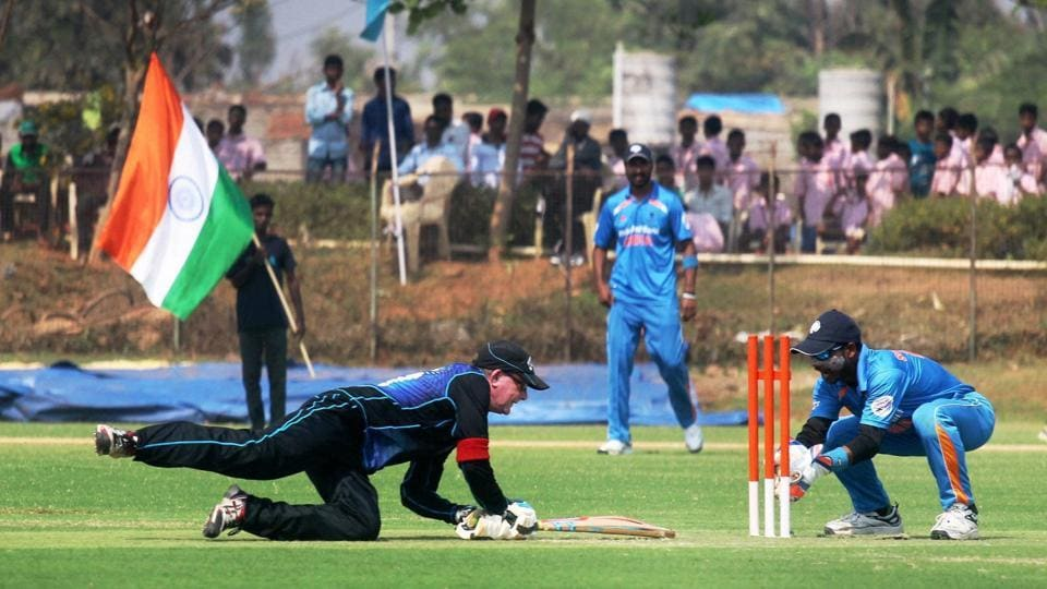 A New Zealand batsman completes a run during their Blind Cricket World T20 match against India in Bhubaneswar on Tuesday.