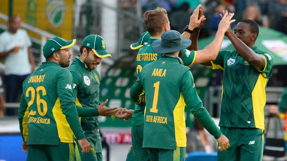 South Africa cricketers celebrate the loss of a wicket during their ODI series against Sri Lanka.