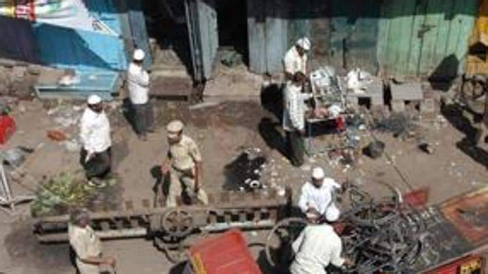 """On September 29, 2008, an """"improvised explosive device"""" went off near Bhiku Chowk in Malegaon, Maharashtra, killing six people and injuring 101."""