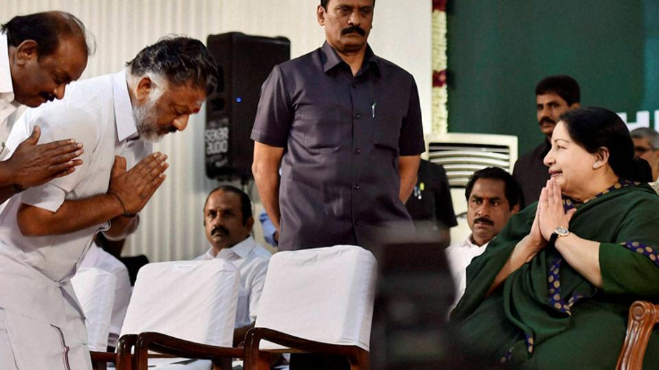 File photo AIADMK chief J Jayalalithaa with O Panneerselvam during her swearing-in ceremony as chief minister of Tamil Nadu in 2015.