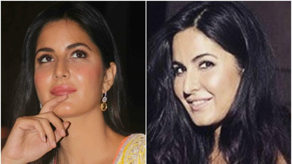 Katrina Kaif's face on December 8 (left) and on January 31 looks very different.