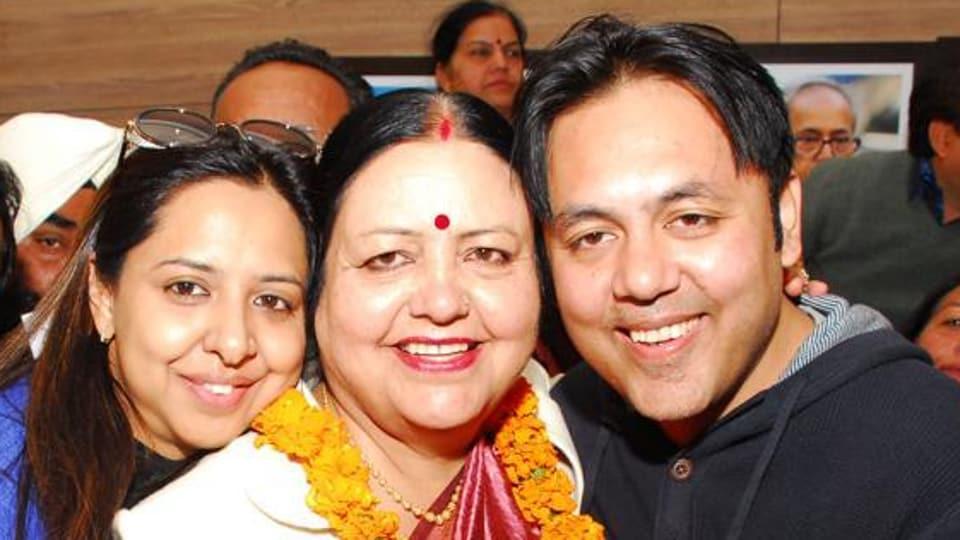 Chandigarh mayor Asha Jaswal with her family members.