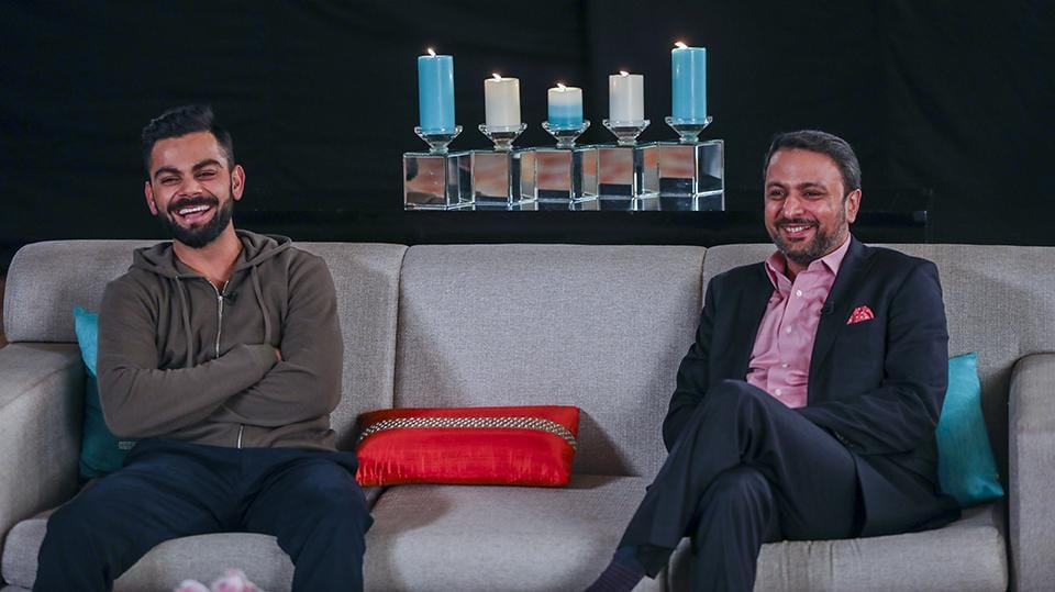 Virat Kohli and Gionee India CEO Arvind Vohra are all smiles at 'Green Tea with Gionee'