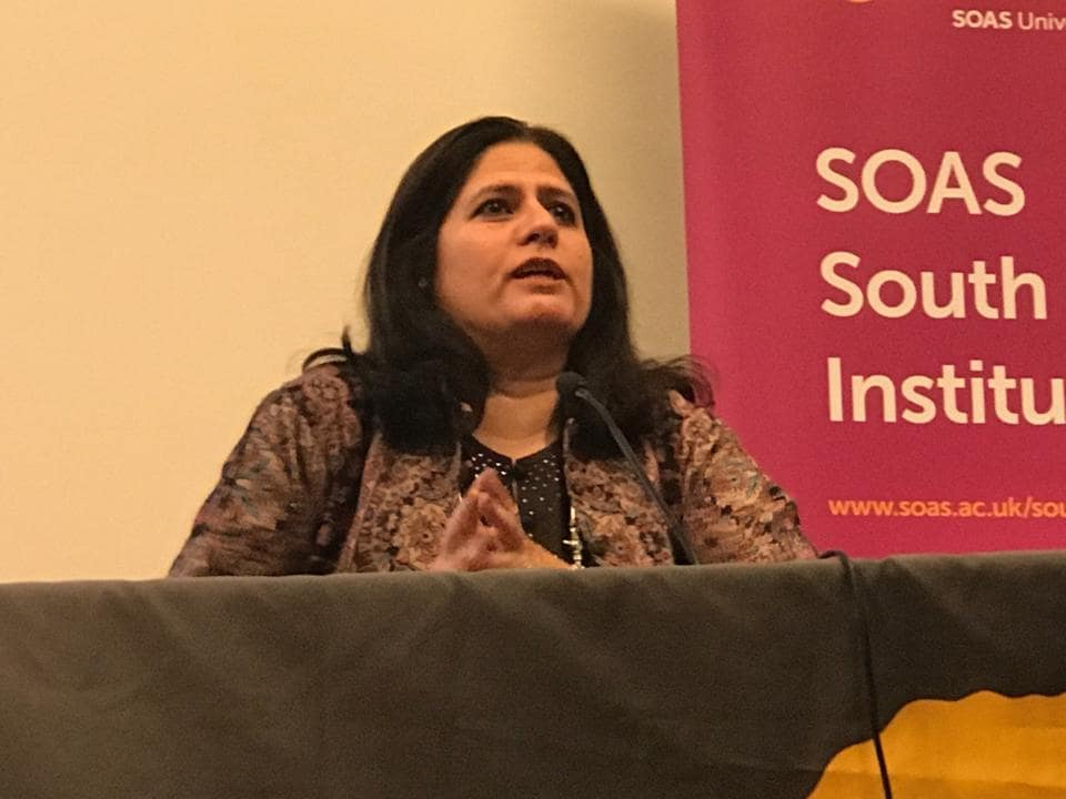 Lawyer and human rights activist Vrinda Grover delivers the Noor Inayat Khan Memorial Annual Lecture at the School of Oriental and African Studies, London, on Tuesday.