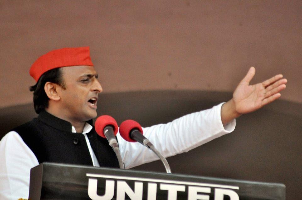 UP CM and Samajwadi Party President Akhilesh Yadav addresses an election rally in Rampur on Wednesday.