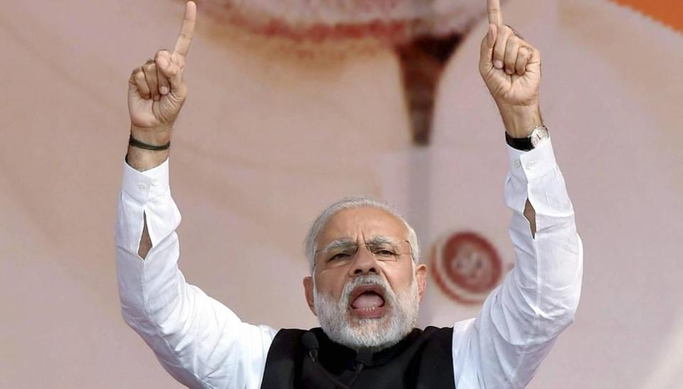 Prime Minister Narendra Modi addresses the BJP's Parivartan Sankalp Rally in Ghaziabad on Wednesday ahead of the UP Assembly polls.