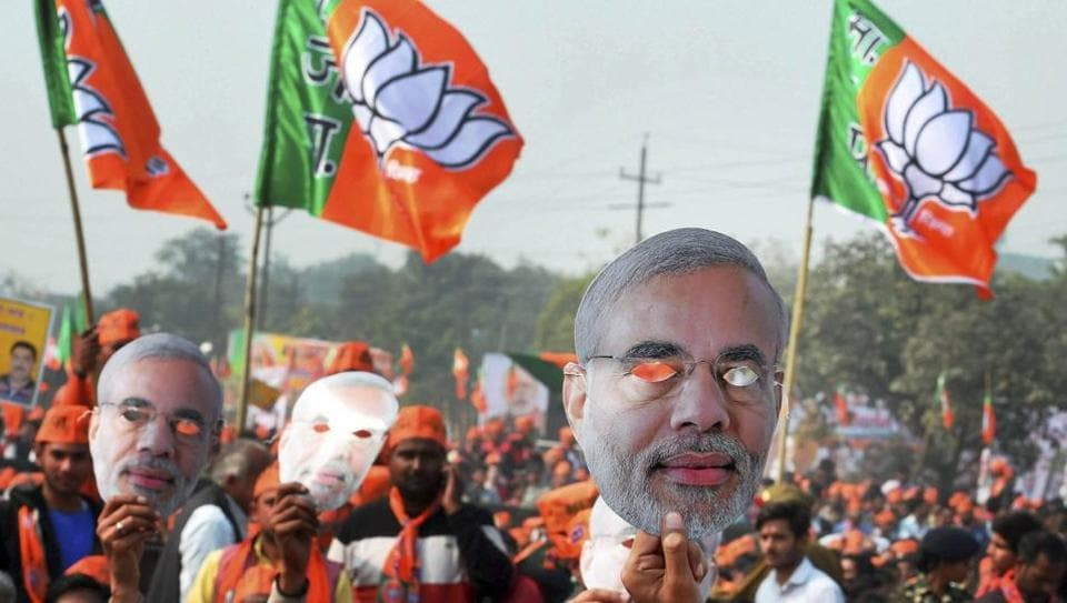 BJP supporters at a rally in Ghaziabad in Uttar Pradesh ahead of the Assembly polls onFebruary 8, 2017.