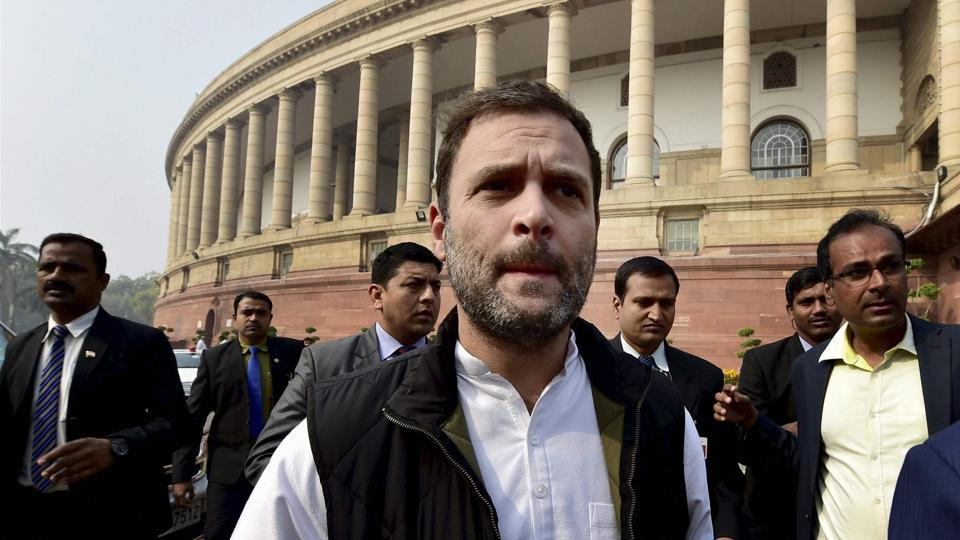 Congress vice-president Rahul Gandhi arrives at the Parliament House in New Delhi.