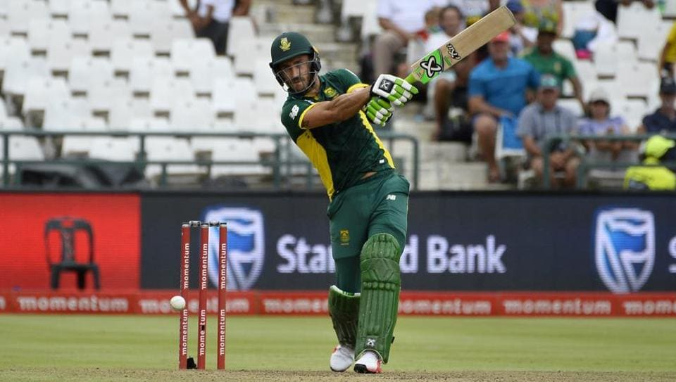 South Africa's Faf du Plessis hits a shot against Sri Lanka in Cape Town.