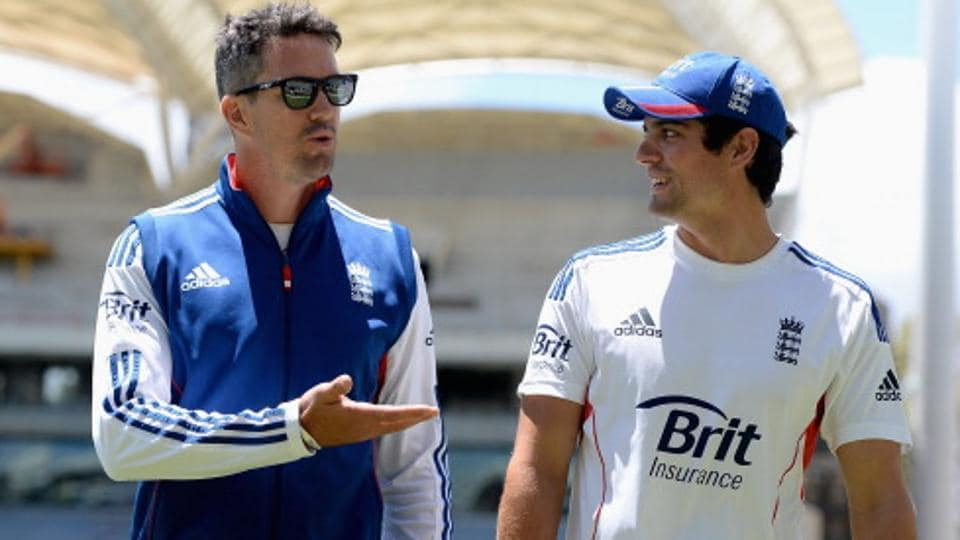 Kevin Pietersen and Alastair Cook during an England nets session at Adelaide Oval.