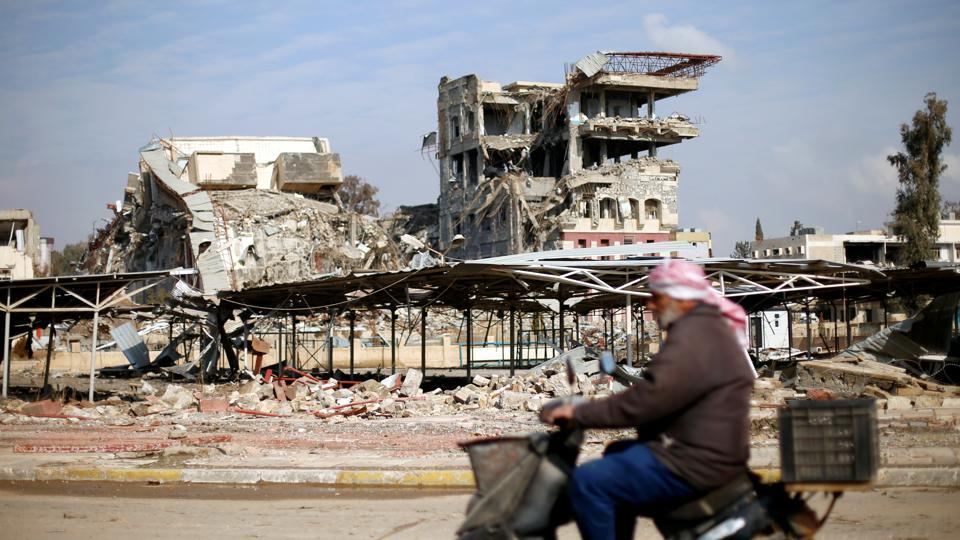 A building of the University of Mosul that was destroyed during the battle with Islamic State militants at Mosul in Iraq in January.