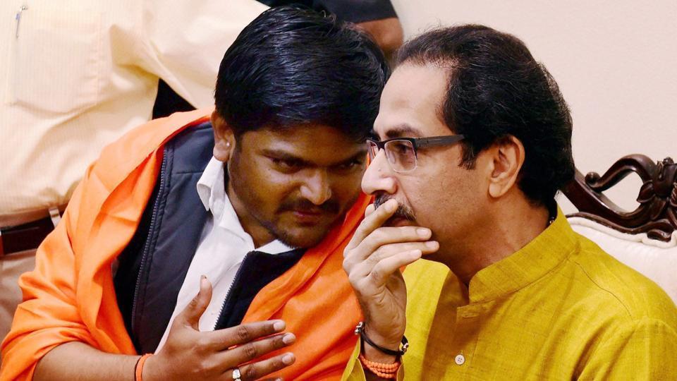 Patidar agitation leader Hardik Patel with Shiv Sena chief Uddhav Thackeray in Mumbai on Tuesday.