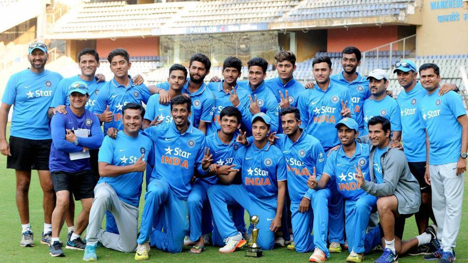 India Under 19 cricket team players with the trophy after beating the England Under-19 cricket team 3-1 in the five-match one-day series at Wankhade Stadium in Mumbai on Wednesday.