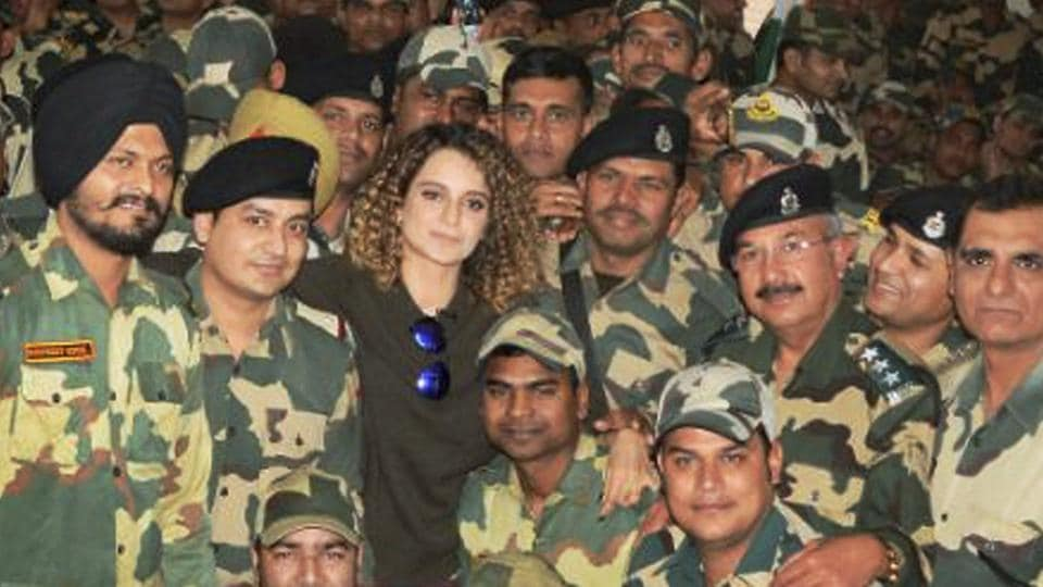 Actor Kangana Ranaut met the jawans of BSF Frontier Headquarter in Jammu on Tuesday.