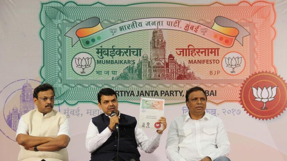 Chief minister Devendra Fadnavis (centre), Mumbai BJP president Ashish Shelar (right) and education minister Vinod Tawde release the party's manifesto on Tuesday.